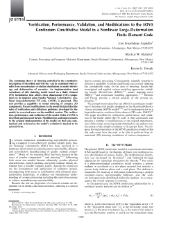 Verification, Performance, Validation, and Modifications to the SOVS Continuum Constitutive Model_V 92 Is 7_Journal_of_the_American_Ceramic_Society