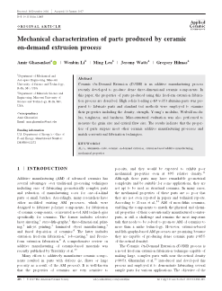 Mechanical characterization of parts produced by ceramic on-demand extrusion process