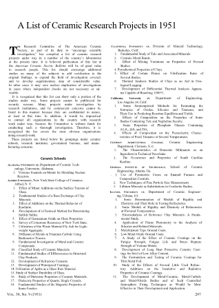 A List of Ceramic Research Projects in 1951