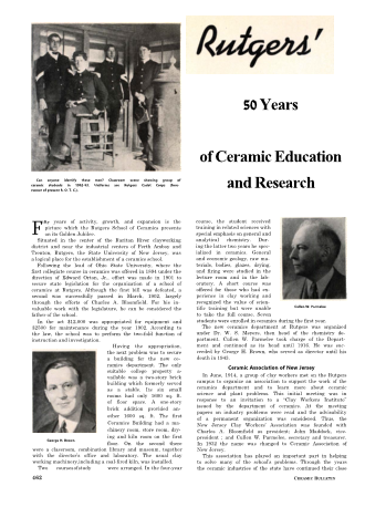 50 Years of Ceramic Education and Research at Rutgers