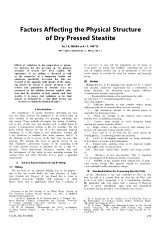 Factors Affecting the Physical Structure of Dry Pressed Steatite