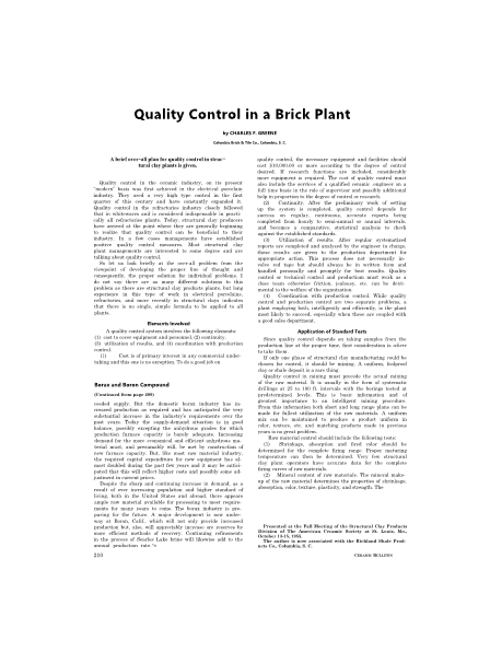 Quality Control in a Brick Plant