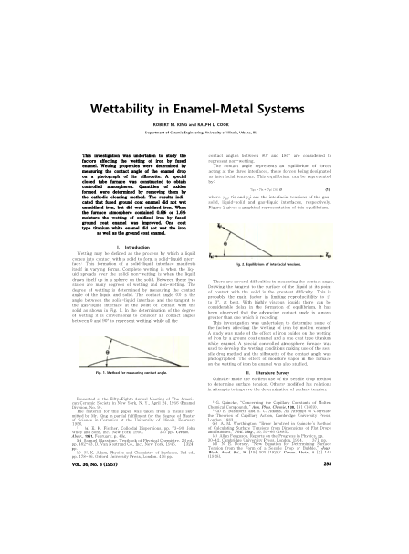 Wettability in Enamel-Metal Systems