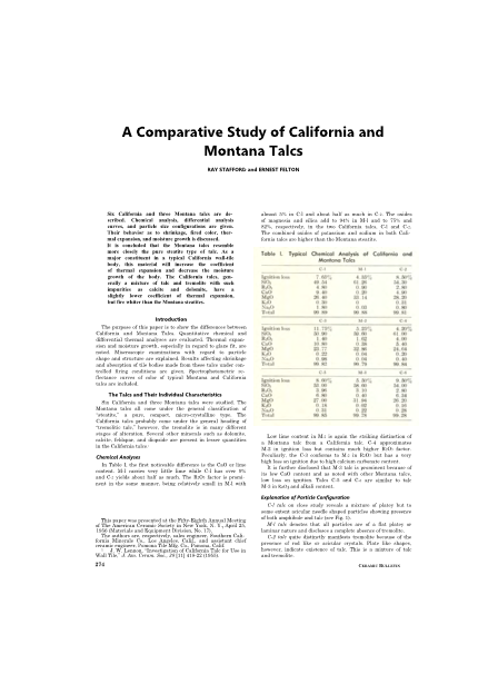 A Comparative Study of California and Montana Talcs