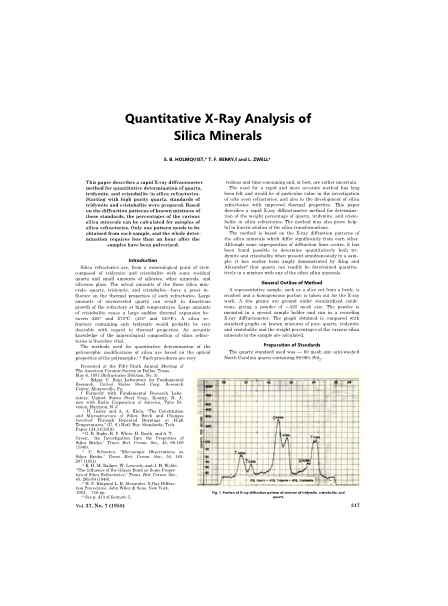 Quantitative X-Ray Analysis of Silica Minerals
