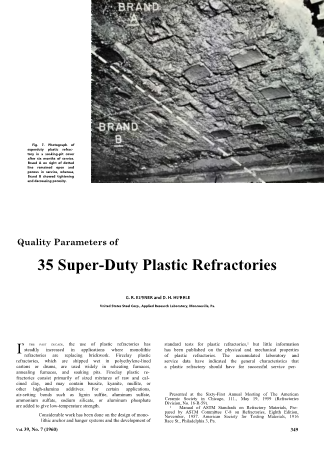 Quality Parameters of 35 Super-Duty Plastic Refractories