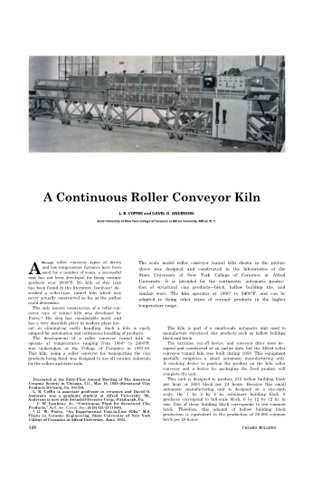 A Continuous Roller Conveyor Kiln