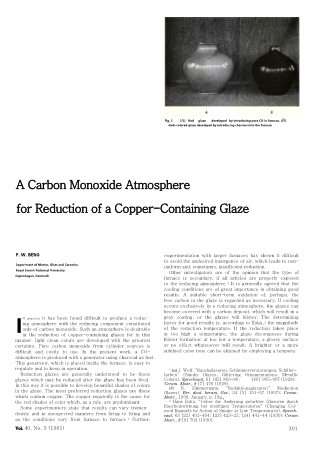 A Carbon Monoxide Atmosphere for Reduction of a Copper-Containing Glaze
