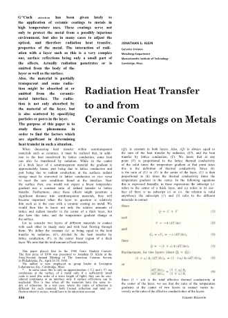 Radiation Heat Transfer to and from Ceramic Coatings on Metals