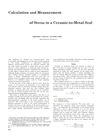 Calculation and Measurement of Stress in a Ceramic-to-Metal Seal