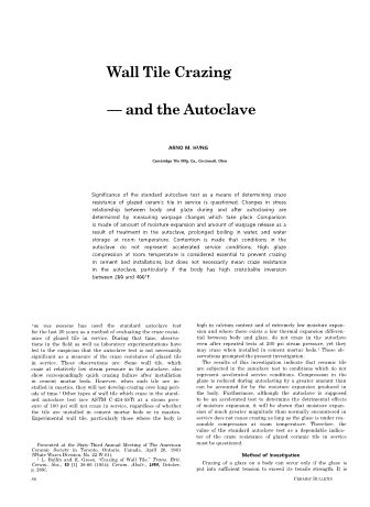 Wall Tile Crazing and the Autoclave