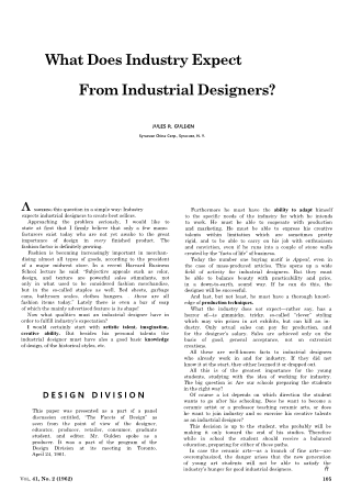 What Does Industry Expect from Industrial Designers?