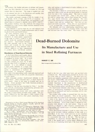 Dead-Burned Dolomote - Its Manufacture and Use in Steel Refining Furnaces