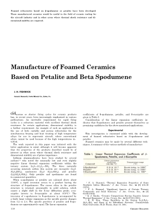 Manufacture of Foamed Ceramics Based on Petalite and Beta Spodumene