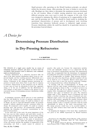 A Device for Determining Pressure Distribution in Dry-Pressing Refractories
