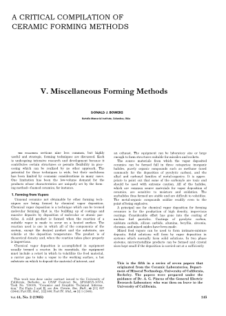 A Critical Compilation of Ceramic Forming Methods