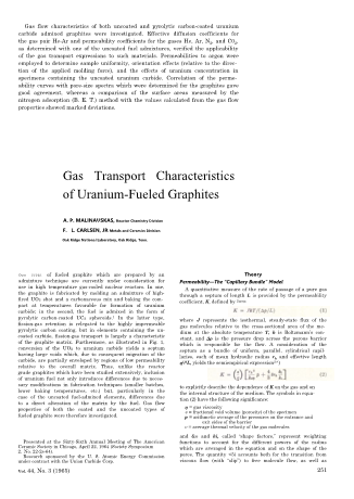 Gas Transport Characteristics of Uranium Fueled Graphites