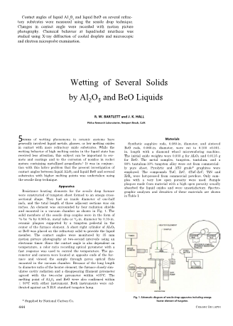 Wetting of Several SOlids by AI2O3 and BeO Liquids