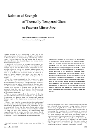 Re lation of Strength of Thermally Tempered Glass to Fracture Mirror Size