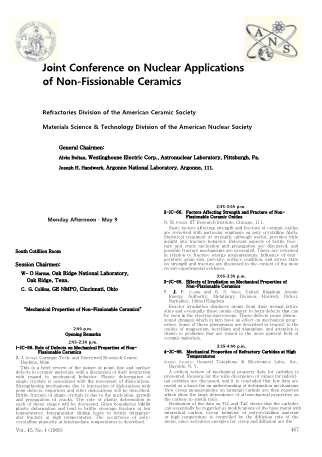 Joint Conference on Nuclear Applicatons of Non-Fissionable Ceramics