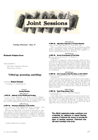 Joint Sessions I and II