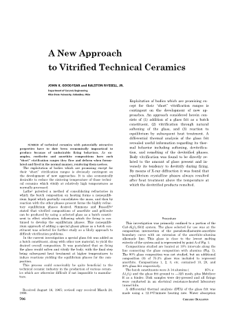 A New Approach to Vitrified Technical Ceramics