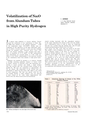 Volatilization of Na2O from Alundrum Tubes in High Purity Hydrogen