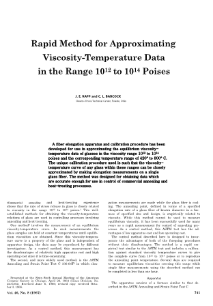 Rapid Method for Approximating Viscosity-Temperature Data