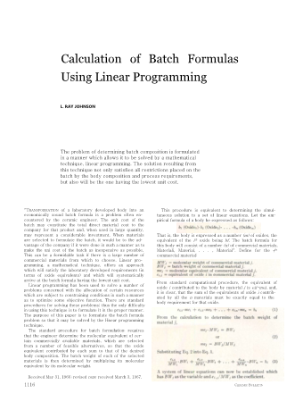 Calculation of Batch Formulas Using Linear Programming
