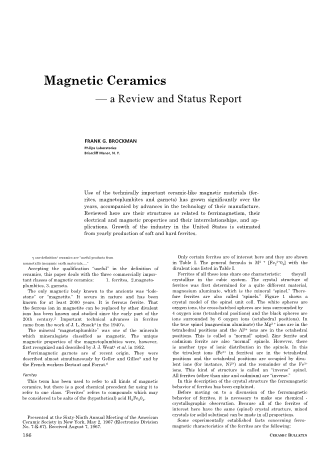 Magnetic Ceramics - a Review and Status Report
