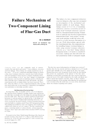 Failure Mechanisms of Two-Component Lining of Flue-Gas Duct