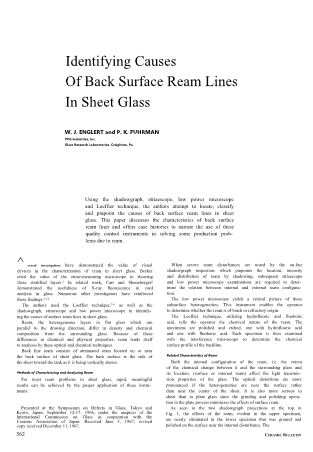 Identifying Causes of Back Surface Ream Lines in the Sheet Glass
