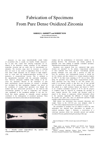 Fabrication of Specimens from Pure dense Oxidized Zirconia