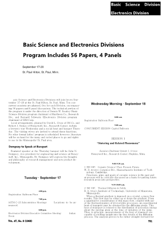 Basic Science and Electronics Divisions Program Includes 56 Papers, 4 Panels
