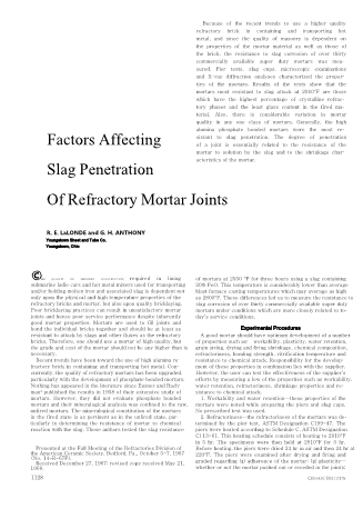 Factors Affecting Slag Penetration of Refractory Mortar Joints