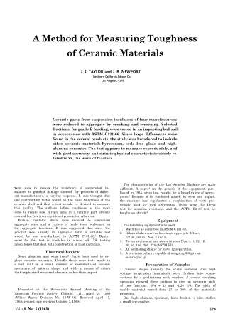 A Method for Measuring Toughness of Ceramic Materials