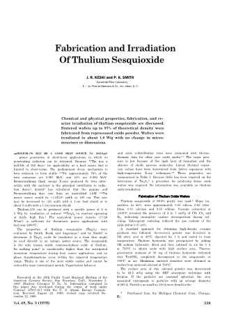 Fabrication and Irradiation of Thulium Sesquioxide