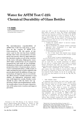 Water for ASTM Test C-225: Chemical Durability of Glass Bottles