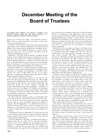 December Meeting of the Board of Trustees
