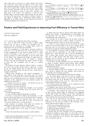 Factors and Field Experiences in Improving Fuel Efficiency in Tunnel Kilns