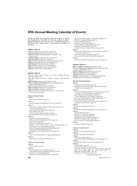 85th Annual Meeting Calendar of Events
