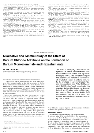 Qualitative and Kinetic Study of the Effect of Barium Chloride Additions on the Formation of Barium Monoaluminate and Hexaaluminate