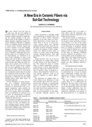 A New Era in Ceramic Fibers via Sol-Gel Technology