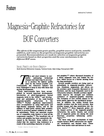 Magnesia-Graphite Refractories for BOF Converters