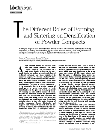 The Different Roles of Forming and Sintering on Densification of Powder Compacts
