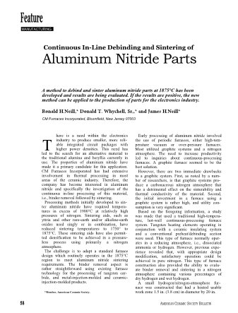 Continuous In-Line Debinding and Sintering ofAluminum Nitride Parts