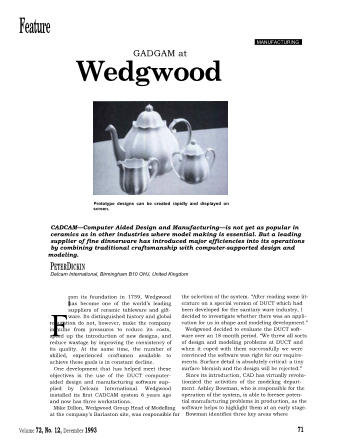 CADCAM at Wedgwood