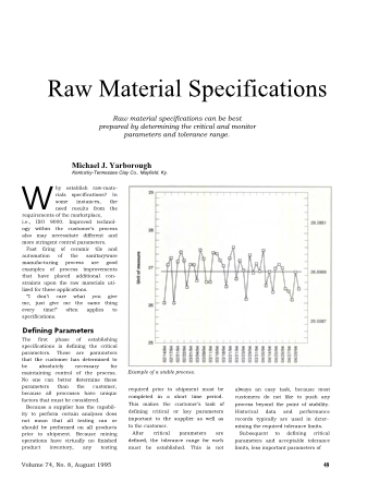 Raw Material Specifications