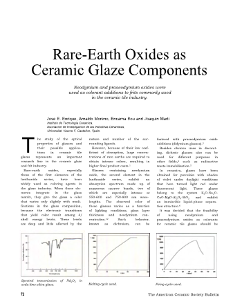 Rare-Earth Oxides as Ceramic GlazeComponents