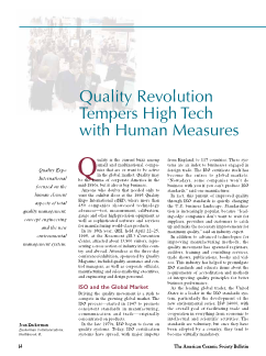 Quality revolution tempers high tech with human measures